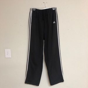 Adidas Black Track Pants joggers zip three stripe